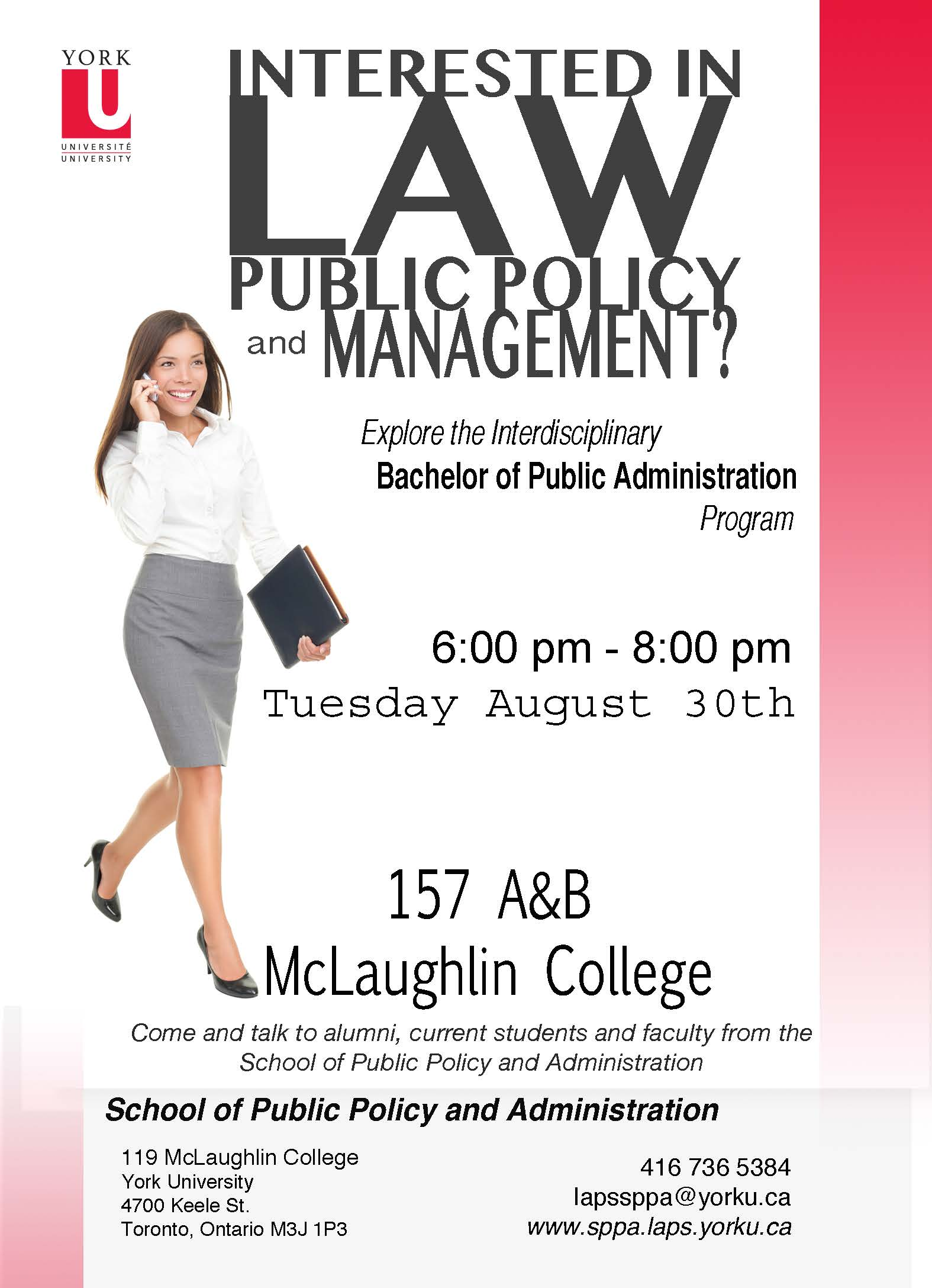 Orientation for incoming Bachelor of Public Administration students @ 157 A/B McLaughlin College (York University) | Toronto | Ontario | Canada