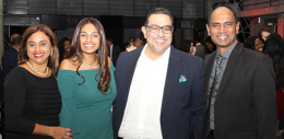 Munisha Basiram in the centre with alumnus and neighbour Deepak Soni, who encouraged her to pursue the BPA at York, along with Munisha's parents on each side of the picture
