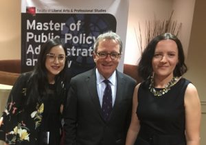 From left to right: MPPAL Alumna and Ontario Legislative Intern Shireen Salti with the Hon. David Zimmer, Minister of Indigenous Relations and Reconciliation and Alena Kimakova, Director of the School of Public Policy and Administration