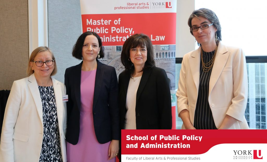 SPPA executive with the Auditor General, from left to right: Undergraduate Program Director Joanne Magee, SPPA Director Alena Kimakova, Auditor General Bonnie Lysyk and Graduate Program Director Dagmar Soennecken